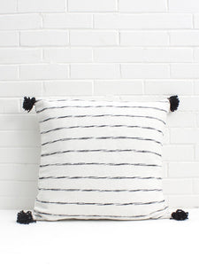 White Cotton Scribble Stripe with Black Tassels Pillow - Bohemian Monochrome Pillow Cover