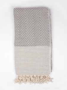 Malibu Hammam Turkish Towel/Throw Blanket, Grey
