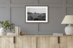 Beach Grass Lighthouse Black & White Print