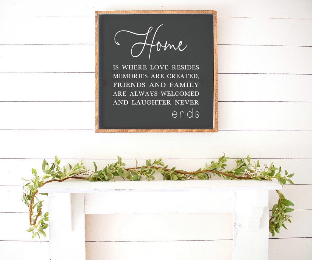 Home Is Where Love Resides Farmhouse Wooden Sign