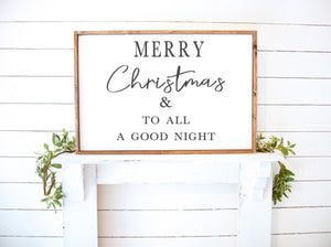 Merry Christmas & to all a good night Farmhouse Wooden Sign
