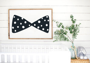 Bowtie - Kids Scandinavian Monochrome Wooden Sign