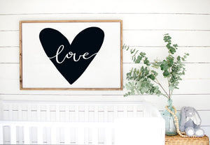 Love - Kids Scandinavian Monochrome Wooden Sign