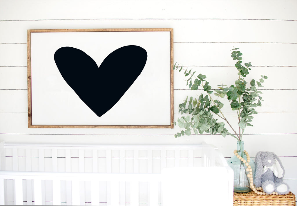 Heart - Kids Scandinavian Monochrome Wooden Sign