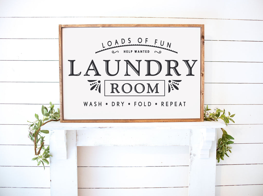 Laundry Room Farmhouse Wooden Sign