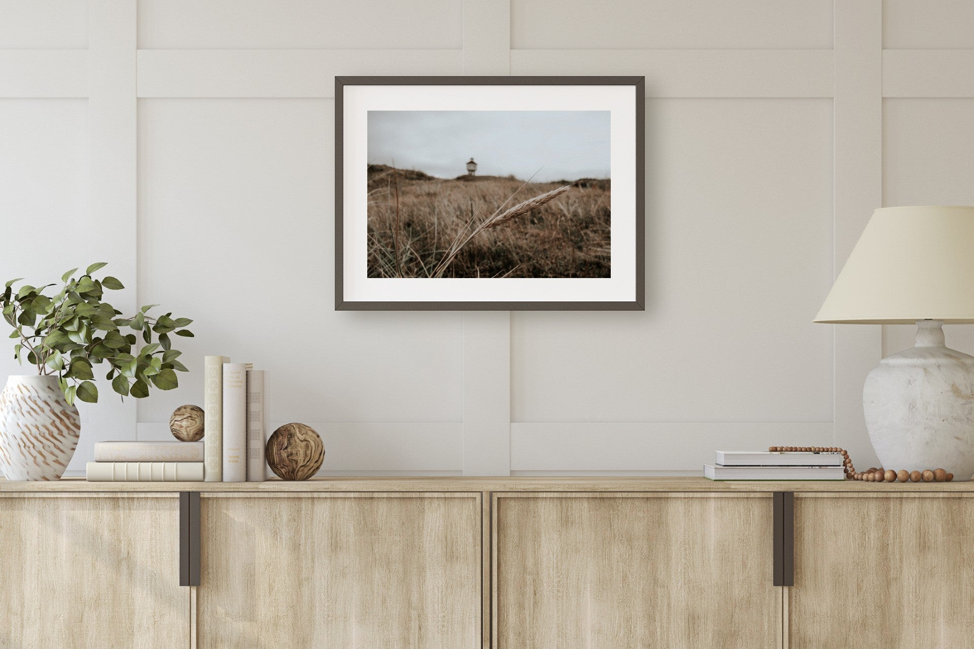 Beach Grass Lighthouse Muted Color Print