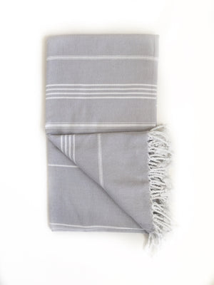 Grey/White Turkish Bath/Beach Towel
