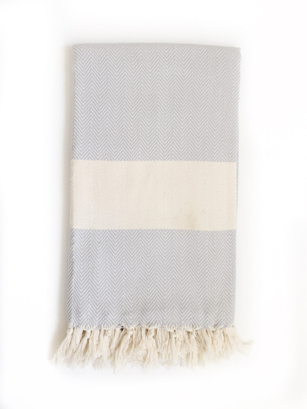 Grey/Cream Herringbone Turkish Bath/Beach Towel