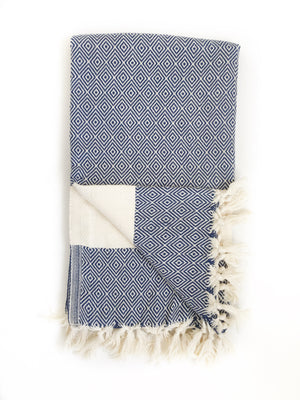 Navy/Cream Diamond Pattern Turkish Bath/Beach Towel