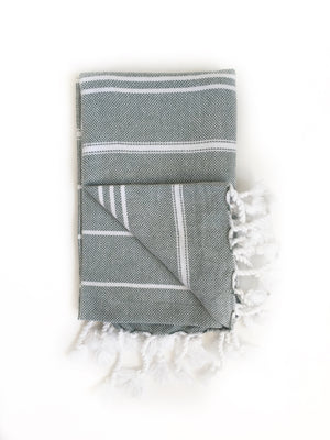 Sage Green/White Turkish Bath/Beach Towel