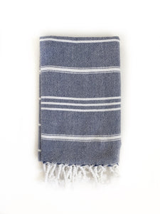 Navy Blue/White Turkish Hand Towel