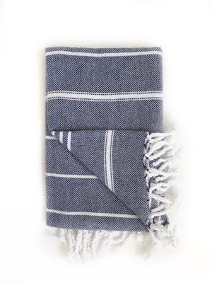 Navy Blue/White Turkish Bath/Beach Towel