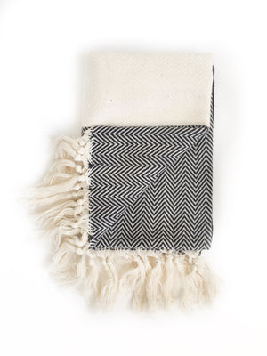 Black/Cream Herringbone Turkish Hand Towel