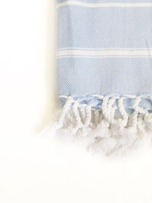 Light Blue/White Turkish Hand Towel - Limited Stock Available!
