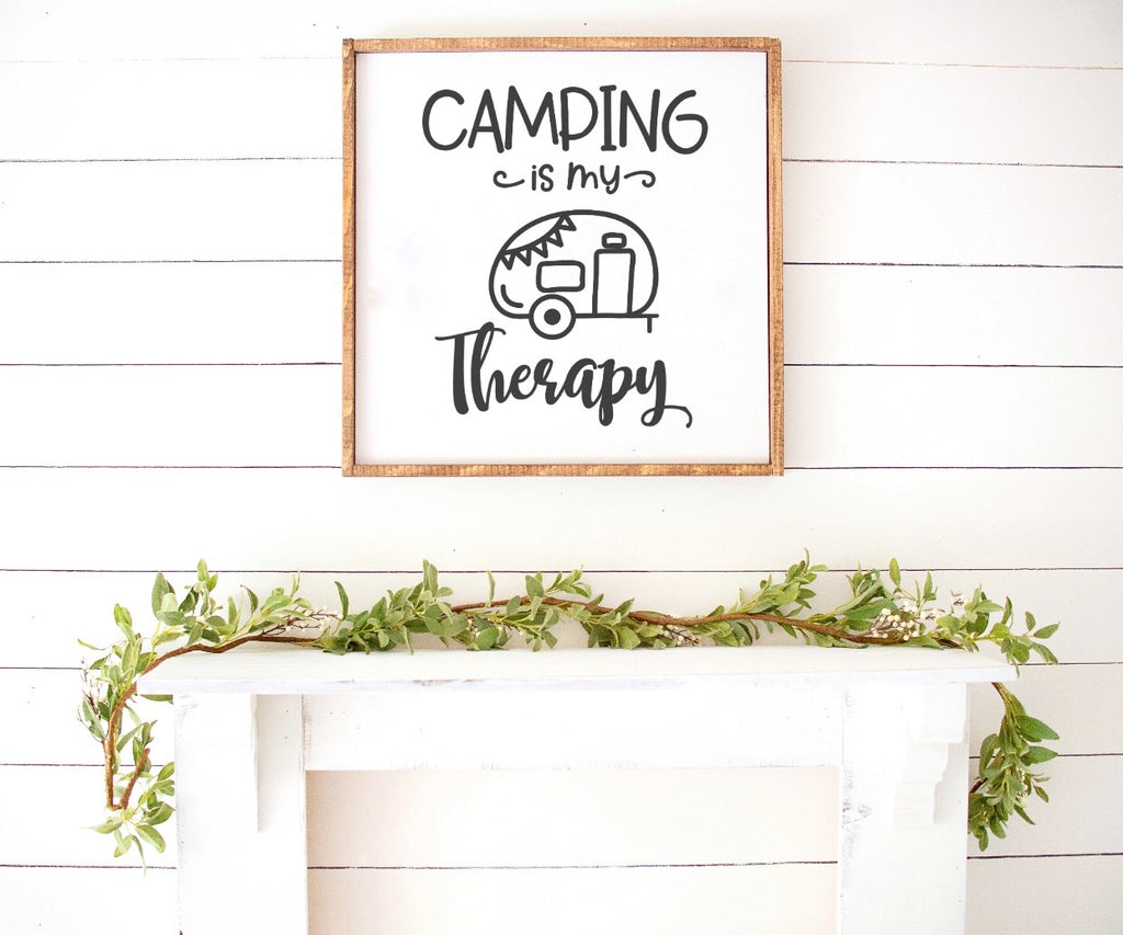 Camping Is My Therapy Farmhouse Wooden Sign