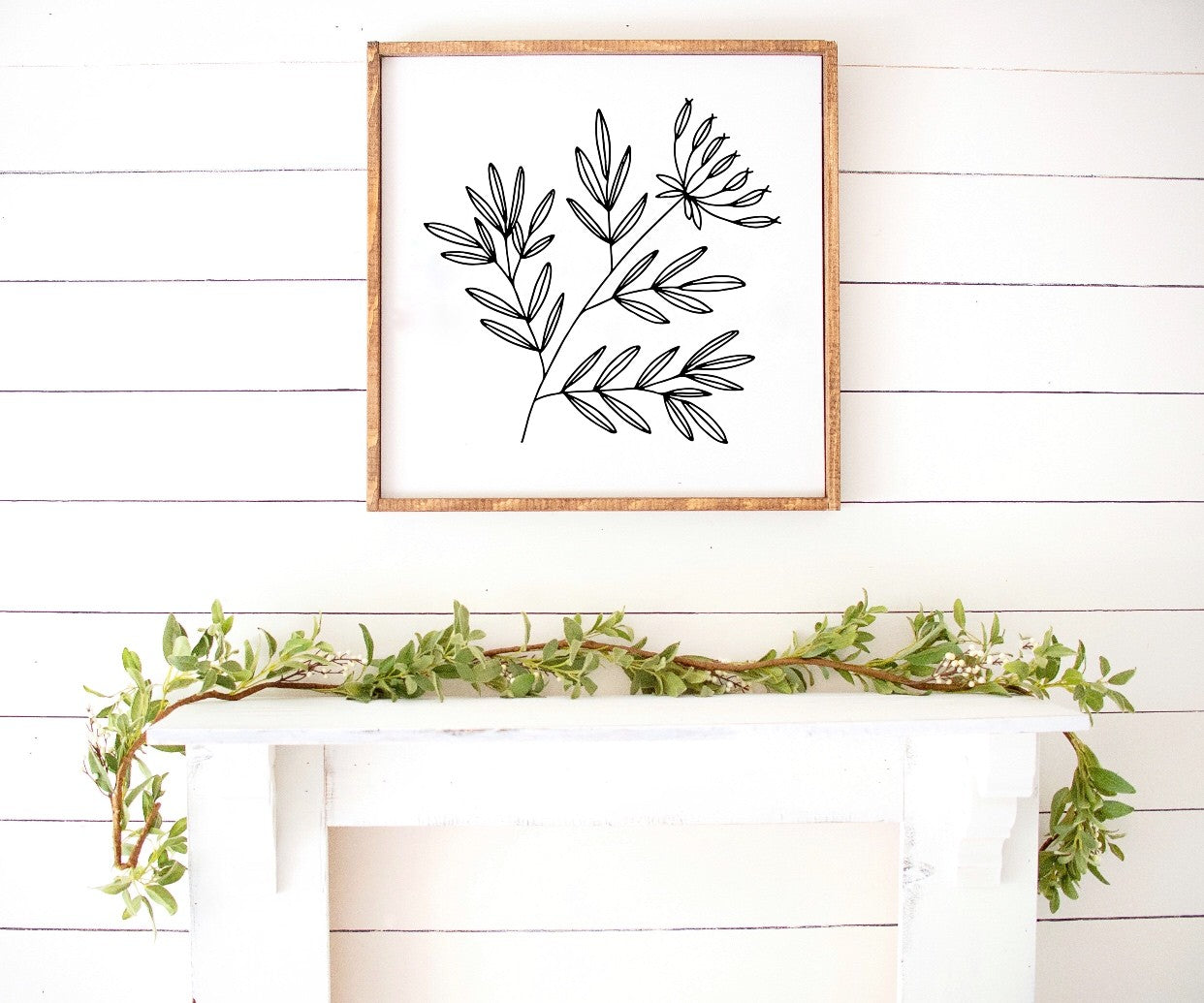Spring floral print thistle branch Farmhouse Wooden Sign