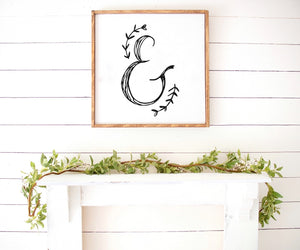 Spring floral ampersand print Farmhouse Wooden Sign