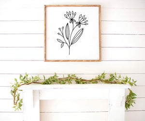Spring floral print Farmhouse Wooden Sign