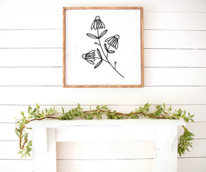 Spring floral print daisies Farmhouse Wooden Sign