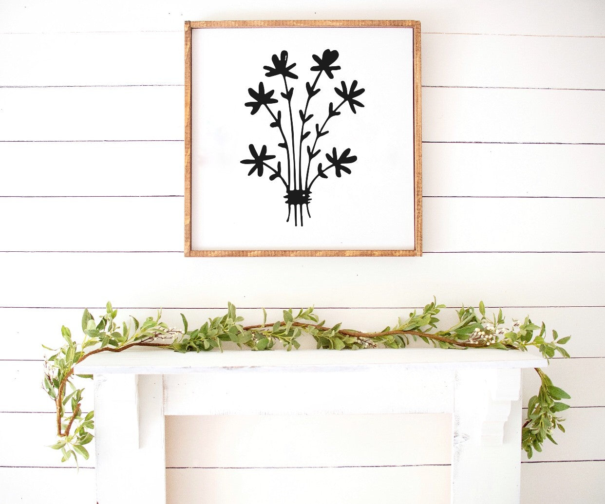 Spring floral bouquet print Farmhouse Wooden Sign