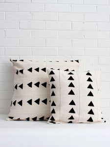 White Mudcloth Pillows with Triangle Print - Bohemian Monochrome Pillow Cover -Sale Price- Limited Stock Available!