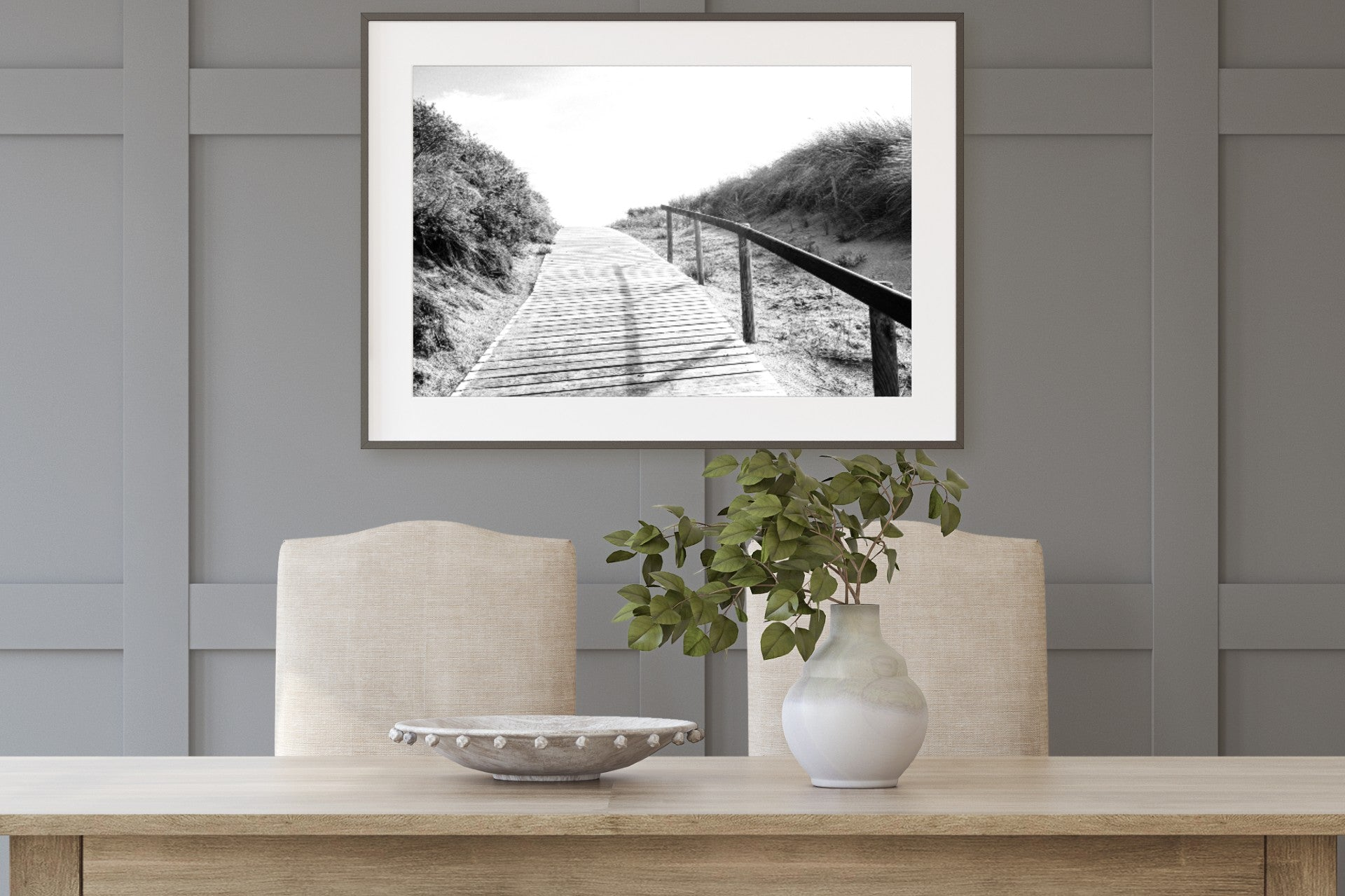 Boardwalk Black & White Print