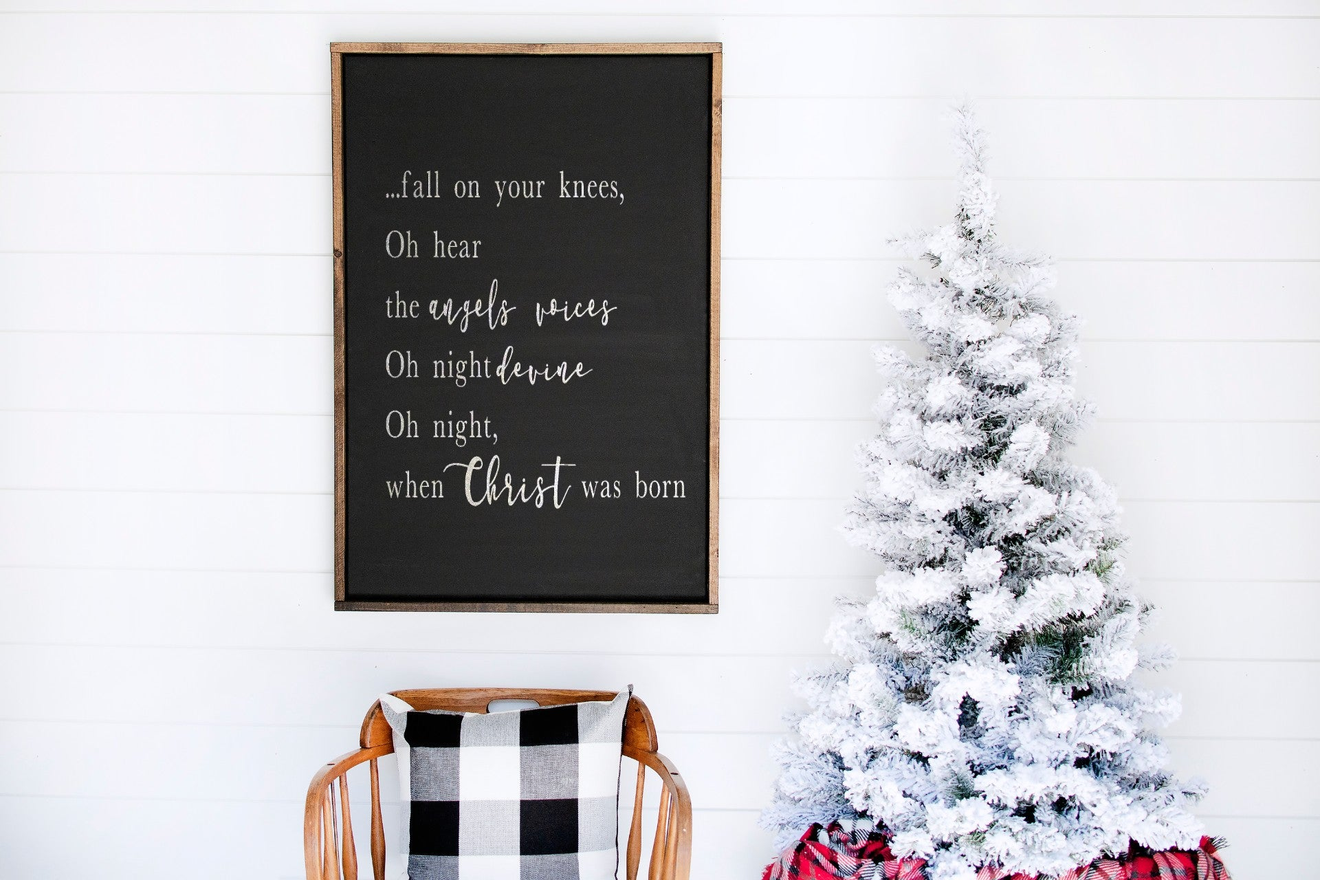 Oh Holy Night - Farmhouse Wooden Sign