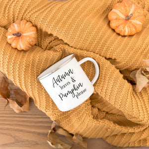 Autumn leaves & pumpkin please 10oz camp mug