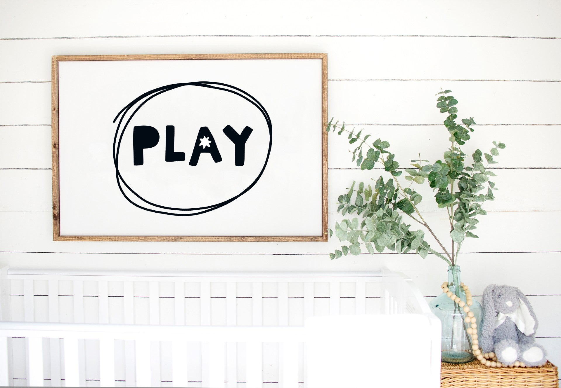 Play Kids - Kids Scandinavian Monochrome Wooden Sign