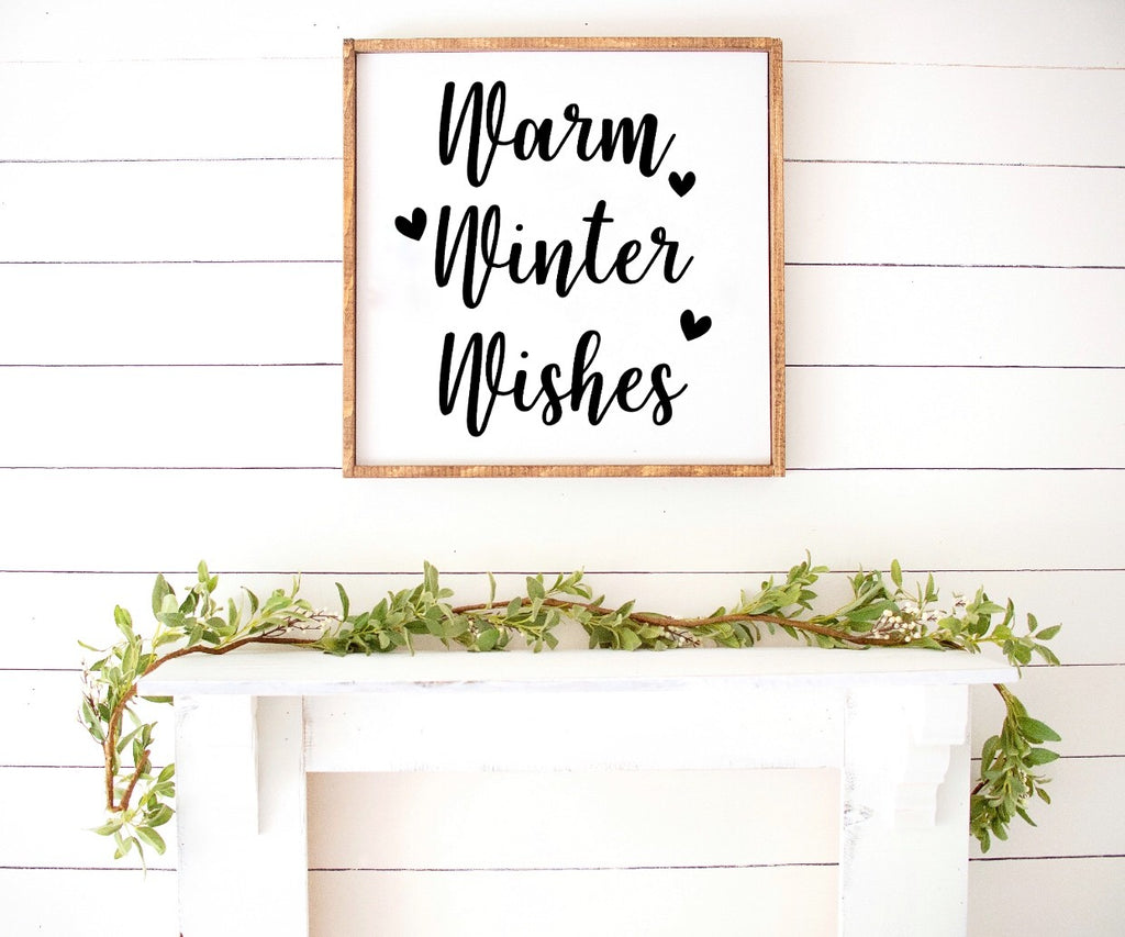 Warm Winter Wishes Farmhouse Wooden Sign