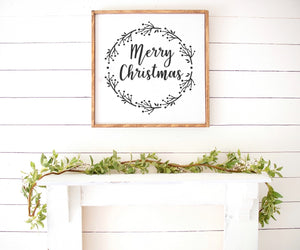 Merry Christmas Farmhouse Wooden Sign