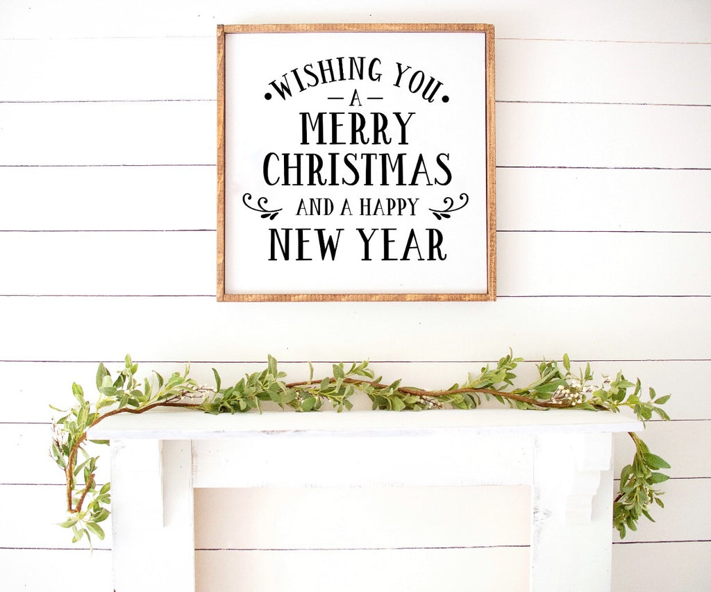 Wishing You a Merry Christmas and a Happy New Year Farmhouse Wooden Sign