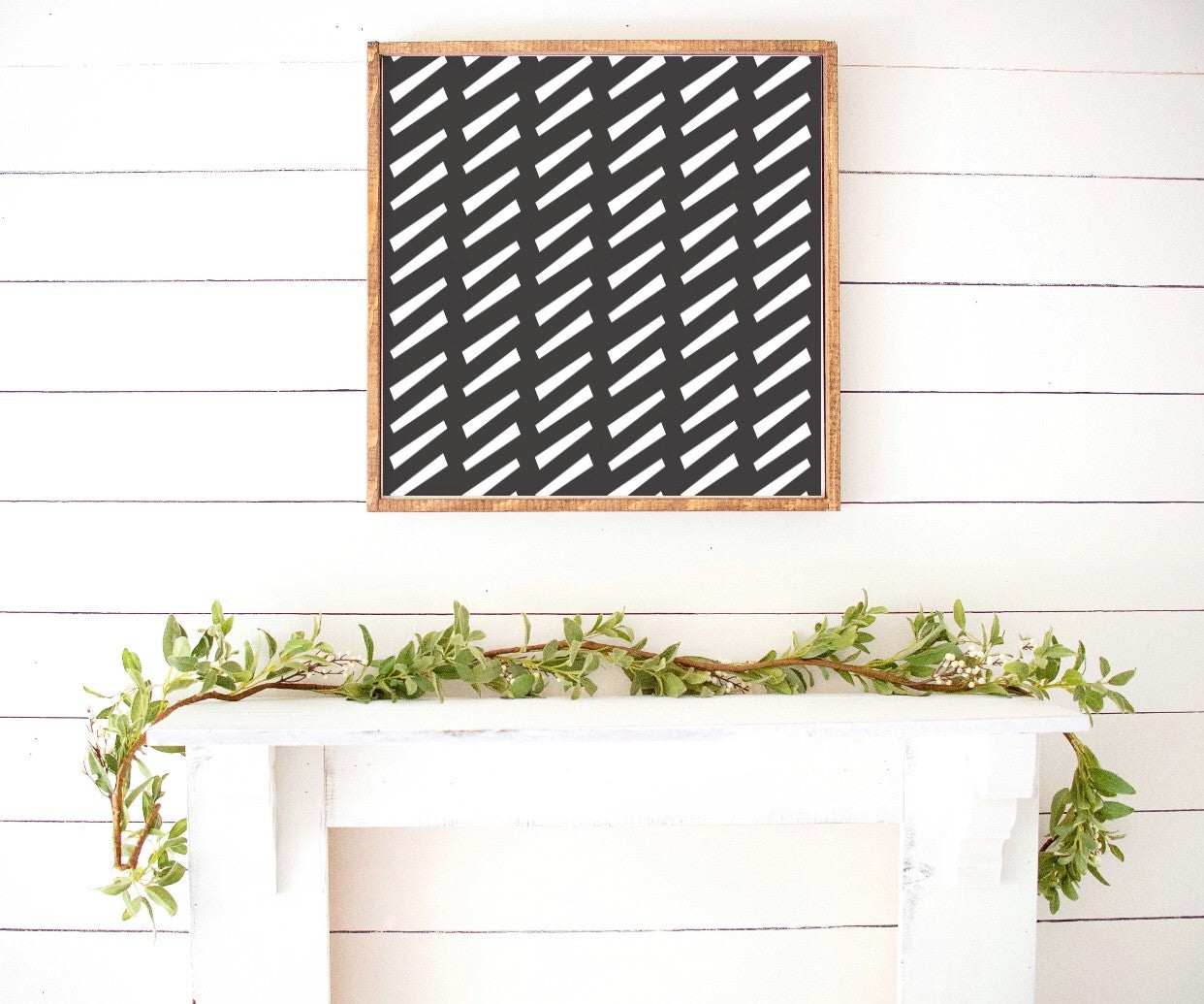 Bohemian Black Mudcloth Pattern Monochrome Wooden Sign