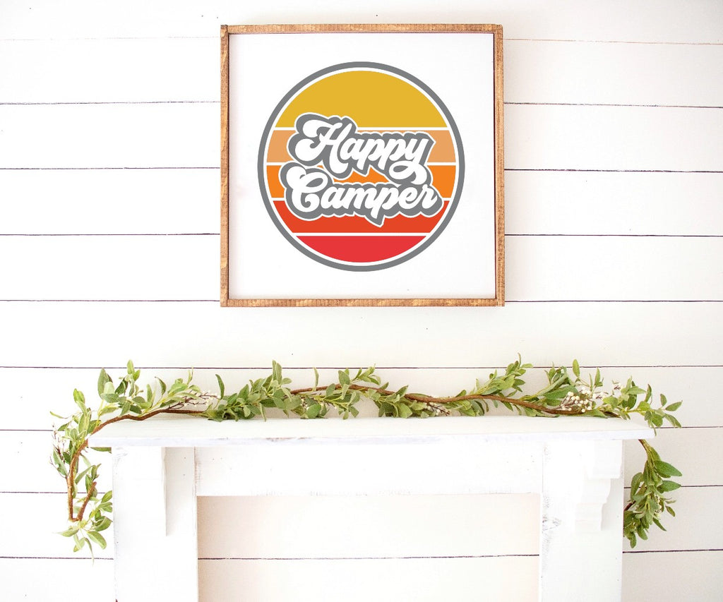 Happy Camper Boho Modern Wooden Sign