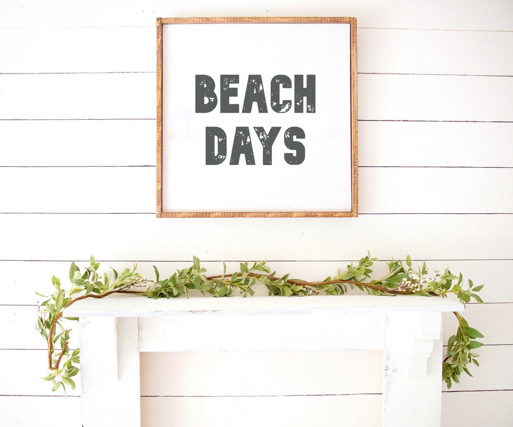 Beach Days Boho Modern Wooden Sign