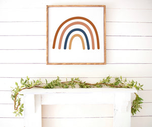Boho Rainbow Modern Farmhouse Wooden Sign