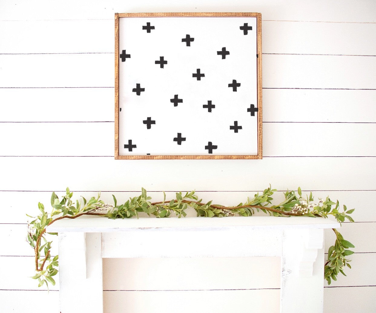 Bohemian Cross Pattern Monochrome Wooden Sign