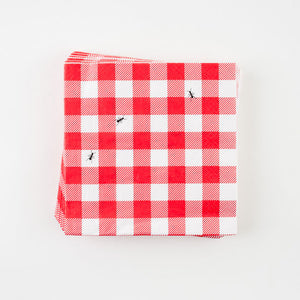 Red Gingham Ants Luncheon Napkins
