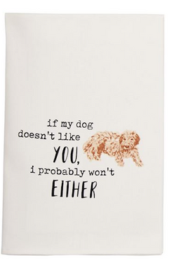 Either Dog Watercolor Dish Towel