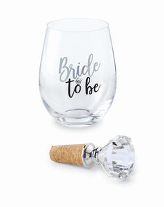 Stemless Wine Glass with Topper Set