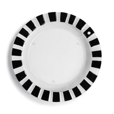 Black and White Striped Pop-In Round Platter