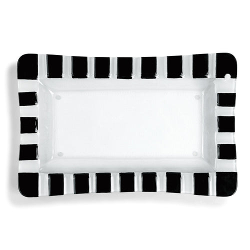 Black and White Striped Pop-In Rectangle Platter