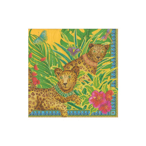 Leopards in Yellow Boxed Cocktail Napkins