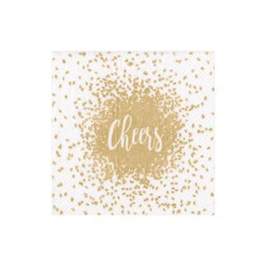 Cheers Gold Boxed Cocktail Napkins