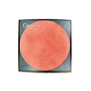 Coral Round Snakeskin Felt-Backed Coasters