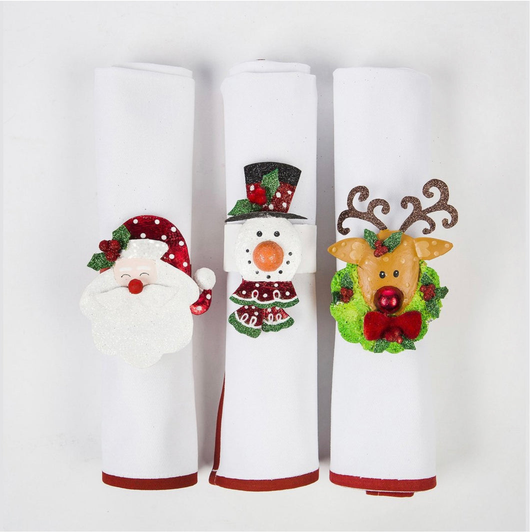 Christmas Napkin Rings Set of 3