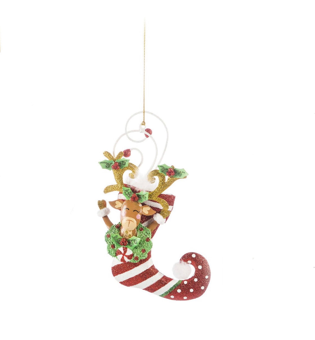 Kringles Stocking Reindeer Ornament (Striped)