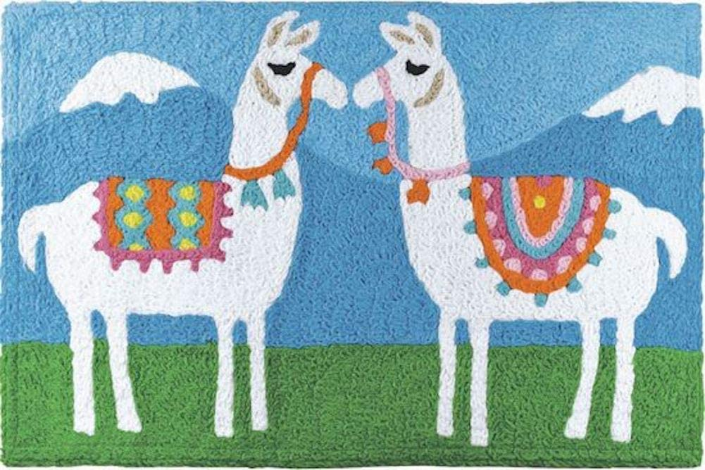 Tasseled Llamas Indoor/Outdoor Rug