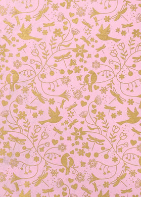 Love Birds Floral Pink Gift Wrap