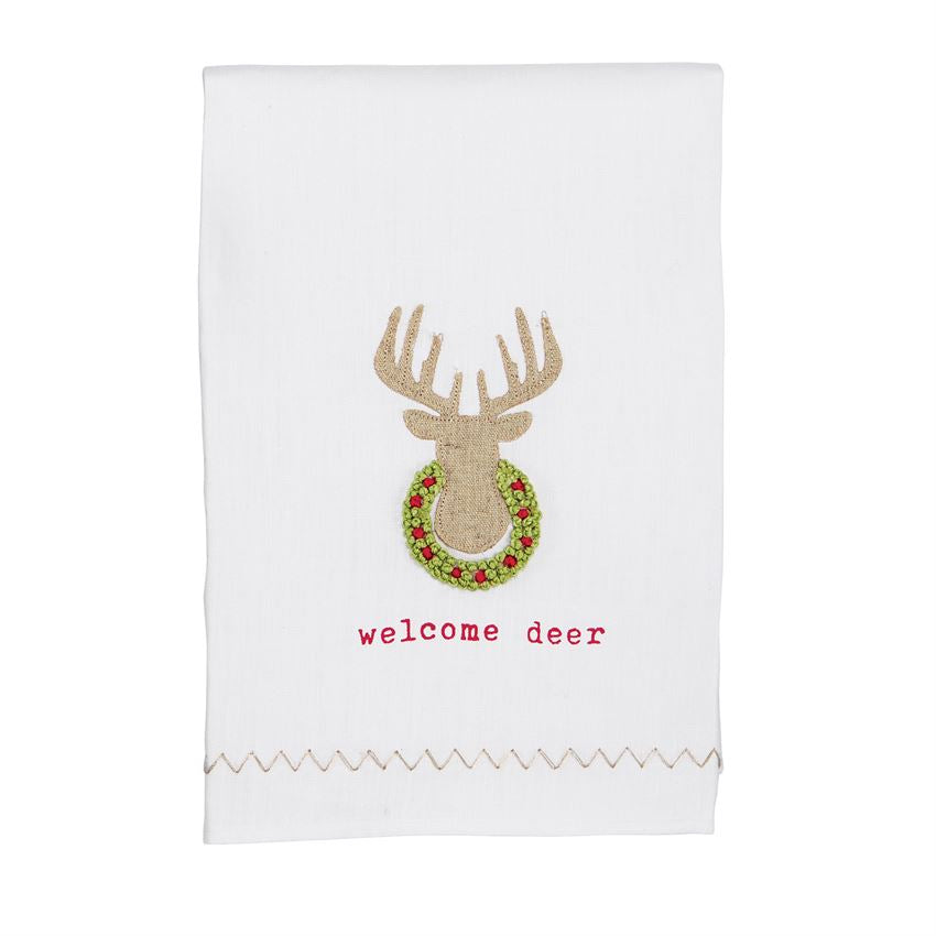 Welcome Deer French Knot Hand Towel